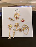 cheap -Women's Earrings Geometrical Heart Bowknot Stylish Simple Cute Pearl Silver Earrings Jewelry Gold For Street Gift Daily Work Festival 9pcs