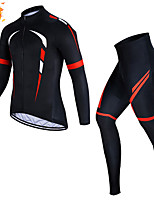 cheap -CAWANFLY Men's Long Sleeve Cycling Jersey with Tights Winter Black Bike Thermal Warm Sports Geometic Road Bike Cycling Clothing Apparel / Micro-elastic / Athleisure