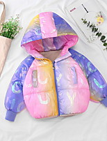 cheap -Kids Unisex Down Long Sleeve Purple Yellow Red Color Gradient Zipper Pocket Active Cool 3-8 Years / Fall