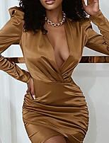 cheap -Women's A Line Dress Short Mini Dress Khaki Long Sleeve Solid Color Ruched Fall V Neck Casual 2021 S M L XL