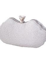 cheap -Women's Bags Polyester Evening Bag Crystals Chain Plain Party / Evening Evening Bag Chain Bag Silver Gold Black