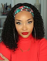 cheap -Headband Wigs for Black Women Curly Headband Wig Human Hair 9A Glueless None Lace Front Wigs with Headband Attached 150% Density Half Wigs Natural Color 12-30 Inch