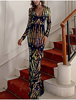 cheap -Mermaid / Trumpet Sparkle bodycon Party Wear Formal Evening Dress V Neck Long Sleeve Floor Length Sequined with Sequin 2021
