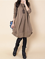 cheap -Women's A Line Dress Knee Length Dress Gray Khaki Green Black Long Sleeve Solid Color Ruched Pocket Fall Winter Round Neck Casual 2021 M L XL XXL