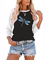cheap -Women's Painting T shirt Color Block Animal Long Sleeve Print Round Neck Basic Tops Regular Fit Blushing Pink Gray Green