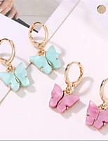 cheap -Women's Drop Earrings Geometrical Butterfly Fashion Earrings Jewelry Purple / Yellow / Blue For Christmas Party Wedding Street Daily