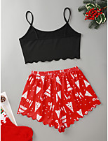 cheap -Women's Pajamas Sets Home Christmas Party Bed Print Santa Claus Elk Christmas Tree Polyester Funny Soft Sweet Strap Top Shorts Spring Summer Crew Neck Sleeveless