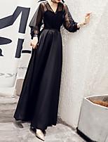 cheap -A-Line Minimalist Elegant Wedding Guest Formal Evening Dress V Neck Long Sleeve Floor Length Satin Tulle with Sash / Ribbon Pleats 2021