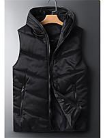 cheap -Men's Gilet Daily Fall Winter Regular Coat Regular Fit Thermal Warm Casual Jacket Sleeveless Solid Color Pocket Light gray Black Dark Gray