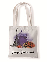 cheap -Fashionable Canvas Shoulder storage Bag Halloween gym reusable portable grocery shopping cloth book tote 33*37cm