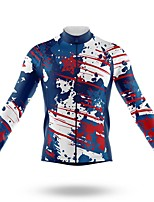 cheap -21Grams Men's Long Sleeve Cycling Jersey Spandex Polyester Blue+White 3D Graffiti Funny Bike Top Mountain Bike MTB Road Bike Cycling Quick Dry Moisture Wicking Breathable Sports Clothing Apparel