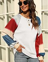 cheap -Women's T shirt Color Block Long Sleeve Patchwork Round Neck Basic Tops Regular Fit Blue Khaki Green