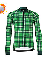 cheap -CAWANFLY Men's Long Sleeve Cycling Jersey Cycling Jacket Winter Green Geometic Bike Tracksuit Winter Jacket Top Thermal Warm Fleece Lining Sports Clothing Apparel / Micro-elastic / Athleisure