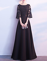 cheap -A-Line Minimalist Elegant Wedding Guest Formal Evening Dress Jewel Neck Half Sleeve Floor Length Lace Stretch Fabric with Lace Insert 2021