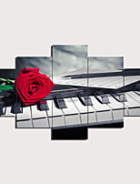 cheap -5 Panels Wall Art Canvas Prints Painting Artwork Picture piano Painting Home Decoration Decor Rolled Canvas No Frame Unframed Unstretched