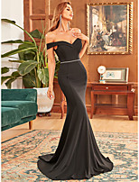 cheap -Mermaid / Trumpet Sexy bodycon Prom Formal Evening Dress Sweetheart Neckline Off Shoulder Sleeveless Sweep / Brush Train Chiffon with Draping 2021