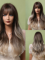 cheap -HAIR CUBE Long Brown Blonde Ombre Wavy Synthetic Wigs with Bangs Natural Hair Wigs for Women Heat Resistant Daily Cosplay Wig