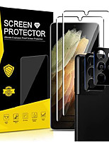 cheap -[2+2 pack] 2 samsung galaxy s21 ultra tempered glass screen protectors, hd clarity, fingerprint scanner support, scratch resistant 3d curved maximum protection with 2 camera lens protectors
