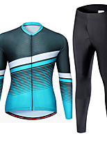 cheap -21Grams Men's Long Sleeve Cycling Jersey with Tights Spandex Red Blue Stripes Bike Quick Dry Moisture Wicking Sports Stripes Mountain Bike MTB Road Bike Cycling Clothing Apparel / Stretchy / Athletic