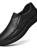 cheap -Men's Loafers & Slip-Ons Crochet Leather Shoes Comfort Loafers Business Casual Classic Daily Outdoor Leather Cowhide Handmade Non-slipping Height-increasing Black Fall Winter