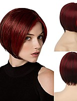 cheap -Short Red Mixed Brown Wig Cosplay Straight Red Bob Wig Middle Parting Halloween Party Wigs for Women