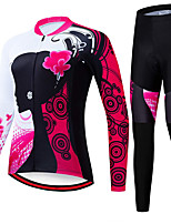 cheap -21Grams Women's Long Sleeve Cycling Jersey with Tights Spandex Polyester Red Floral Botanical Funny Bike Clothing Suit 3D Pad Quick Dry Moisture Wicking Breathable Back Pocket Sports Floral Botanical