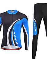 cheap -21Grams Men's Long Sleeve Cycling Jersey with Tights Spandex Black / Blue Bike Quick Dry Moisture Wicking Sports Patterned Mountain Bike MTB Road Bike Cycling Clothing Apparel / Stretchy / Athletic