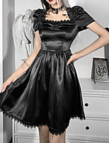 cheap -A-Line Gothic Vintage Halloween Party Wear Dress Square Neck Short Sleeve Short / Mini Spandex with Ruffles Lace Insert 2021