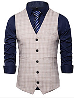 cheap -Men's Vest Gilet Business Work Fall Summer Regular Coat Single Breasted V Neck Regular Fit Breathable Business Casual Jacket Sleeveless Plaid / Check Print Khaki Light Grey White