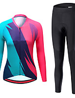 cheap -21Grams Women's Long Sleeve Cycling Jersey with Tights Spandex Red Patchwork Bike Quick Dry Moisture Wicking Sports Patchwork Mountain Bike MTB Road Bike Cycling Clothing Apparel / Stretchy