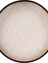 cheap -Decorative Round Wooden Tray Rustic Decorative Serving Kitchen Dining Table Center Counter Floral Ottoman Bathroom Coffee Table Living Room