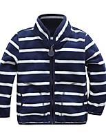 cheap -Kids Unisex Coat Long Sleeve Blushing Pink Gray Dusty Blue Plain Striped Zipper Pocket Cotton Active Cool 3-8 Years / Fall / Short