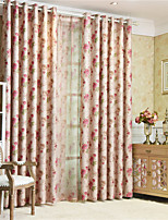 cheap -Window Curtain Window Treatments Red flower 1 Panels Room Darkening Grommet Rod Pocket Solid For Living Room Bed Room