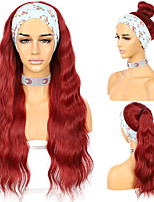 cheap -Wavy Headband Wig Red Color Wig for Women Daily Wedding Party Travel Vacation Glueless Wig 2 Free Bands as Gift