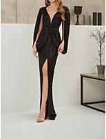 cheap -Sheath / Column Glittering Elegant Wedding Guest Formal Evening Dress V Neck Long Sleeve Floor Length Sequined with Split 2021