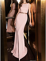cheap -Mermaid / Trumpet Elegant bodycon Engagement Formal Evening Dress Jewel Neck Sleeveless Sweep / Brush Train Stretch Fabric with Sash / Ribbon Beading 2021