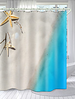cheap -Blue Coast Landscape Series Digital Printing Shower Curtain Shower Curtains  Hooks Modern Polyester New Design