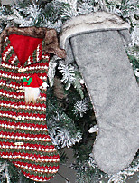 cheap -Checkered Christmas Stocking Knitted Candy Bag Christmas Tree Ornaments Socks Holiday Gift Bag Decoration Props