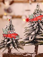 cheap -2pcs Christmas Decorations Creative Cartoon Color Pendants Christmas Tree Ornaments Window Hanging Decoration Supplies
