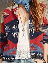 cheap -Women's Jacket Christmas Going out Fall Winter Regular Coat Single Breasted Turndown Regular Fit Warm Casual Streetwear Jacket Long Sleeve Geometric Print Blue Yellow Orange