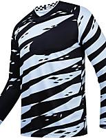 cheap -21Grams Men's Long Sleeve Cycling Jersey Spandex Blue+Orange Black+White Stripes 3D Bike Top Mountain Bike MTB Road Bike Cycling Quick Dry Moisture Wicking Sports Clothing Apparel / Stretchy