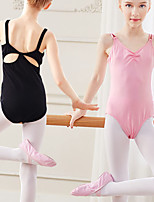 cheap -Ballet Leotard Tank Leotard Girls' Kids Bodysuit Spandex Cotton High Elasticity Quick Dry Breathable Sweat wicking Solid Color Sleeveless Training Competition Ballet Dance Gymnastics Blushing Pink