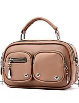 cheap -Women's Bags PU Leather Top Handle Bag Zipper Solid Color Daily Handbags Khaki Green White Black