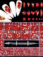 cheap -21 Grid Red Rhinestone Decorations for Nails Art Fashion Glass Nail Rhinestones Sticker for DIY Manicure Design