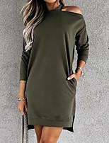 cheap -Women's Sheath Dress Short Mini Dress Khaki Green Black Long Sleeve Solid Color Split Fall Round Neck Casual 2021 S M L XL XXL