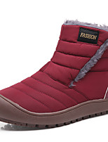 cheap -Women's Boots Snow Boots Flat Heel Round Toe Mid Calf Boots Daily Work Nylon Faux Fur Solid Colored Burgundy Blue Gray