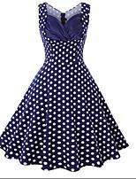 cheap -Women's A Line Dress Knee Length Dress Blue Wine Black Red Navy Blue Light Blue Sleeveless Polka Dot Butterfly Solid Color Print Fall Strapless Casual 2021 S M L XL XXL