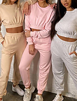 cheap -Women's 2 Piece Pocket Crew Neck Spandex Solid Color Sport Athleisure Clothing Suit Long Sleeve Breathable Soft Comfortable Everyday Use Street Casual Daily Outdoor / Winter