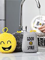cheap -4 Pieces Set Cartoon Dishwashing Sponge Wiping Scouring Pad Decontamination Kitchen Supplies Brush Pot Double-sided Dishwashing Cloth Cleaning Brush