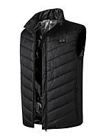cheap -Men's Vest Gilet Daily Going out Winter Short Coat Zipper Stand Collar Regular Fit Warm Casual Jacket Sleeveless Plain Pocket Black